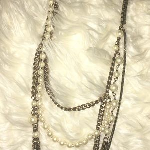 J.Crew Mixed Metal and Pearl Necklace